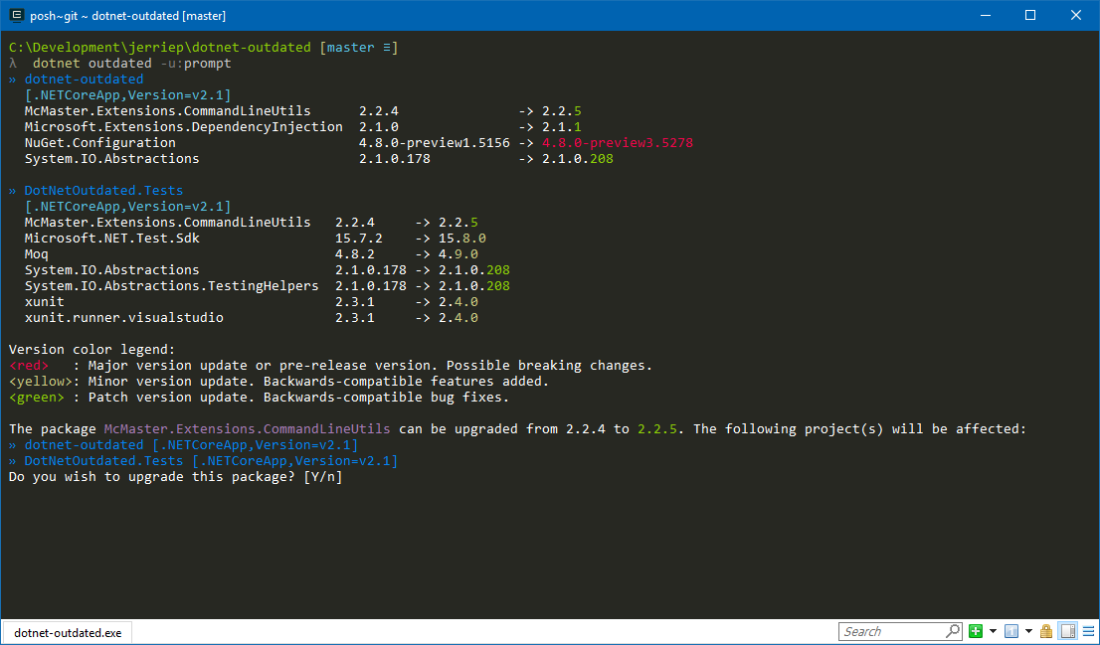 This is the screenshot for the dotnet-outdated CLI